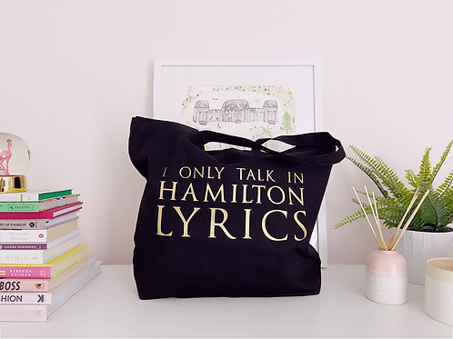 I Only Talk In Hamilton Lyrics - Large Canvas Tote Bag