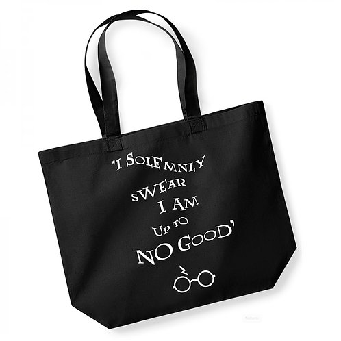 I Solemnly Swear I Am Up To No Good - Large Canvas Tote Bag