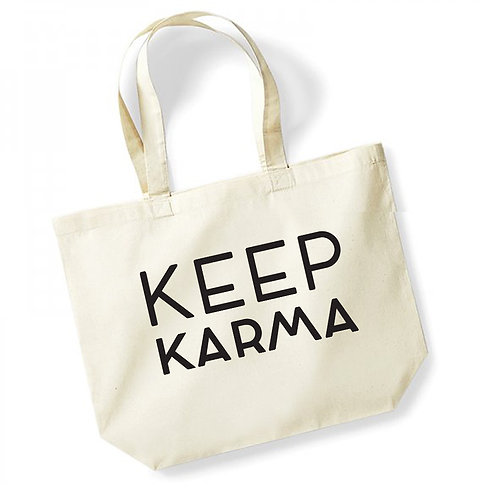 Keep Karma - Large Canvas Tote Bag