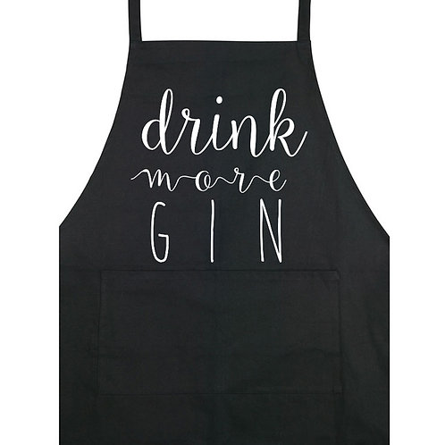 Drink More Gin - Apron - Black