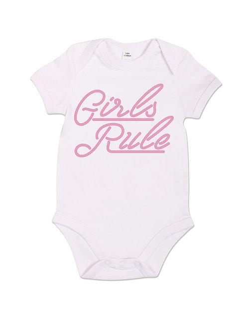 Girls Rule - Babygrow - White
