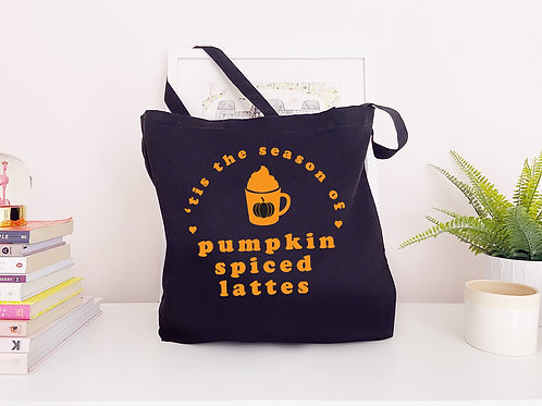 Tis' The Season of Pumpkin Spiced Lattes - Large Canvas Tote Bag