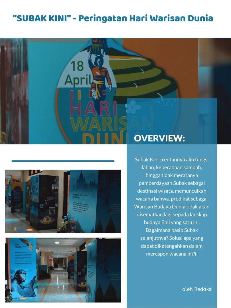 SUARA SABANA - 'SUBAK kini', Peringatan Hari Warisan Dunia 2019