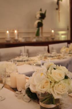 décoration fleurs mariage blanc/or