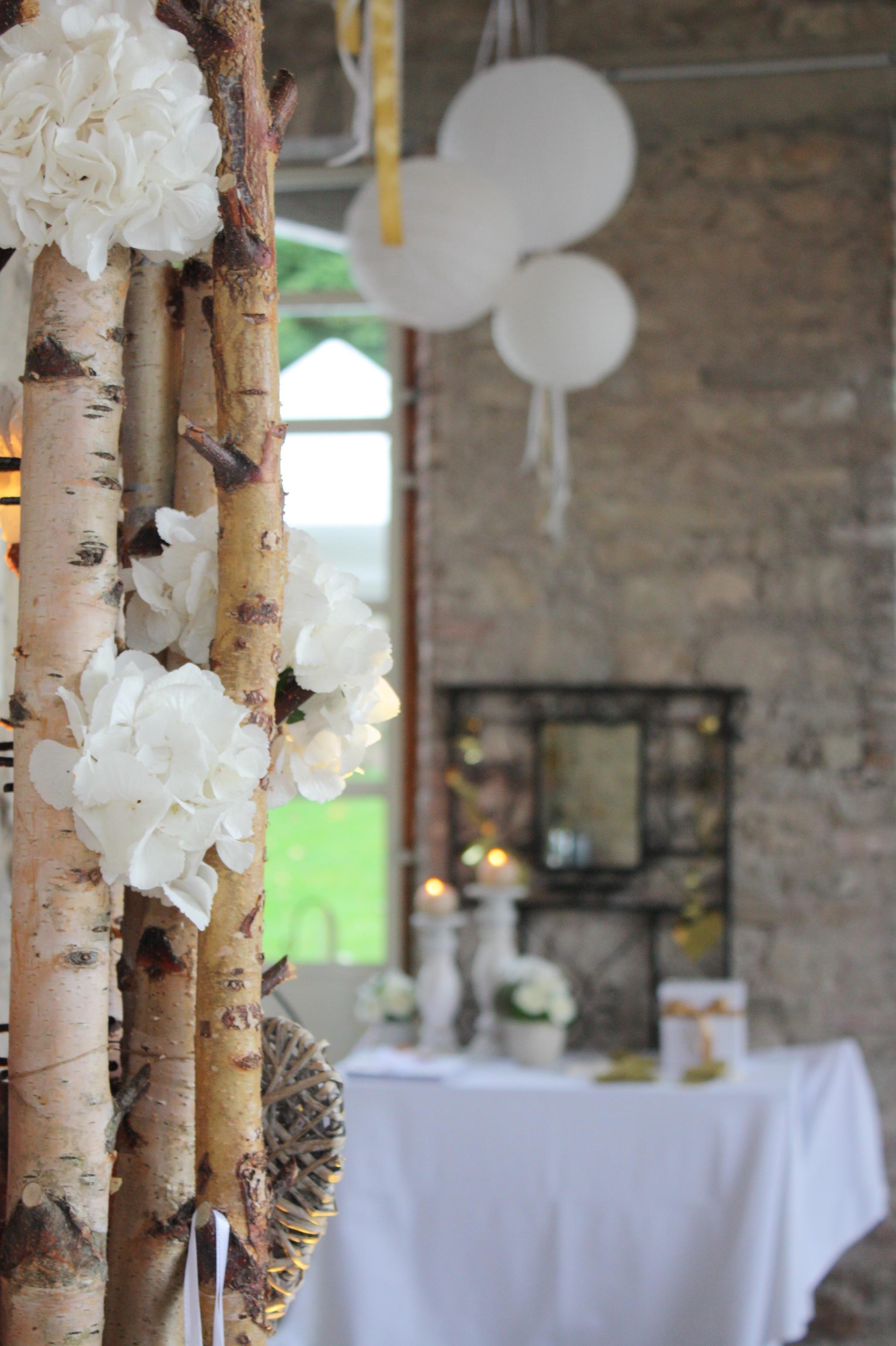 décoration de mariage blanc et or