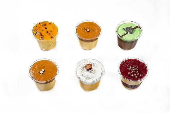 Variedad de 9 postres sin harina en copa