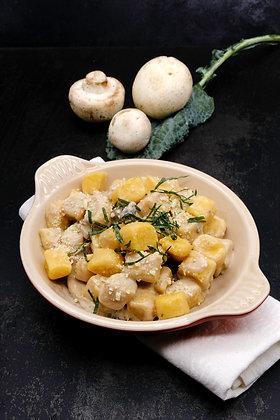 Ñoquis de calabaza con salsa de hongos