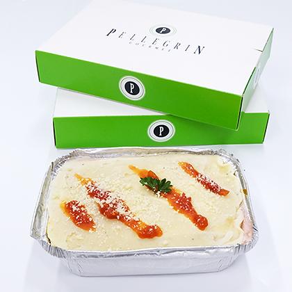 Lasagna de espinaca, jamón y queso