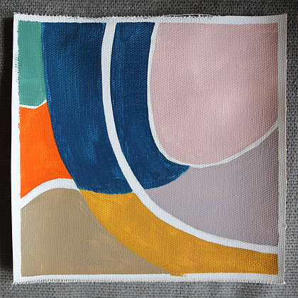 """6""""x 6"""" Original Oil Painting: Small abstraction #7"""