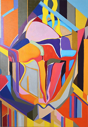 """28""""x 39"""" Oil Painting On Canvas: Layered"""