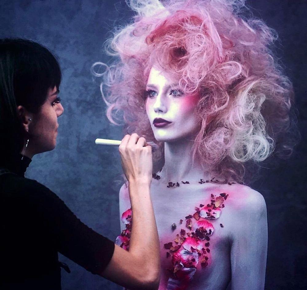 flowers pink body paint body art makeup london