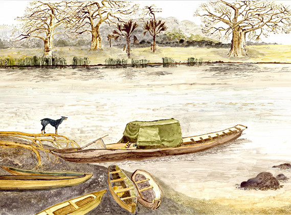 West African Native Life_Dugout canoes_s