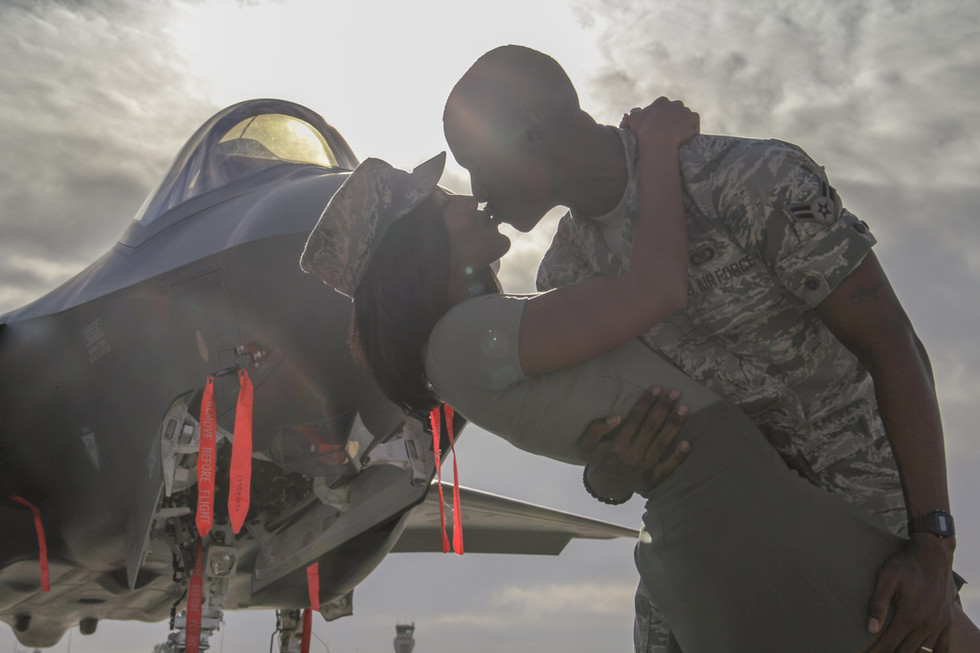 Airmen Romantic Flight line Jet Photo Shoot