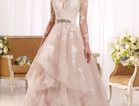 Sleeved Tulle Wedding Dress with Illusion Lace