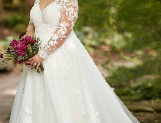 Long Sleeved Plus Size Ballgown with Floral Lace