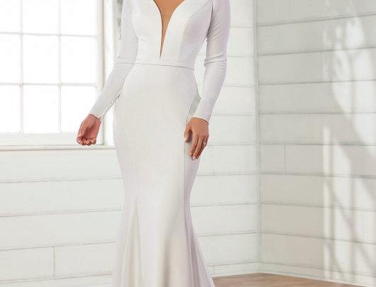Simple and Sleek Long-Sleeved Sheath Wedding Dress
