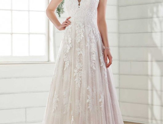 Strapless A-Line Wedding Dress with Cotton Lace
