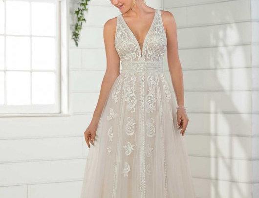 Boho Wedding Dress with Linear Detail