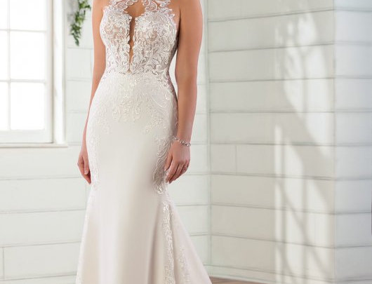 Romantic High Neckline Fit-and-Flare Wedding Gown with Shaped Train