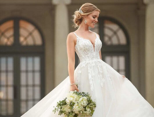 Extravagant Lace Ballgown with Floral Detailing