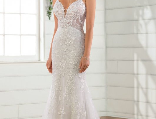 Beaded Fit-and-Flare Wedding Dress with Glitter Tulle