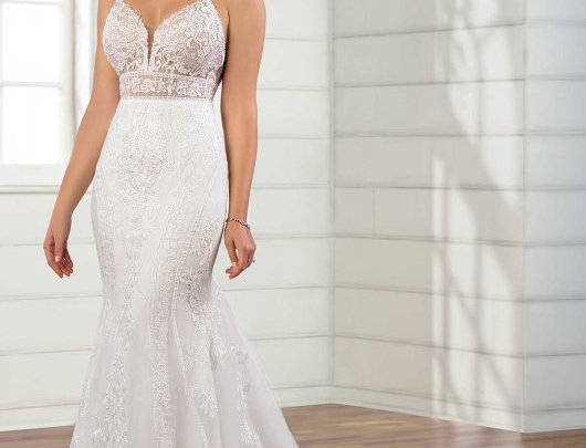Sexy Fit-and-Flare Wedding Gown with Scallop Train