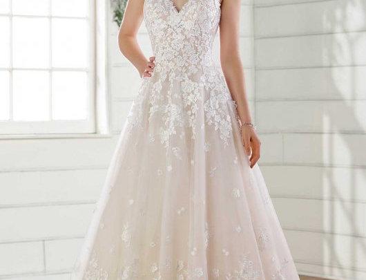 Romantic A-Line Wedding Dress with 3-D Floral Details