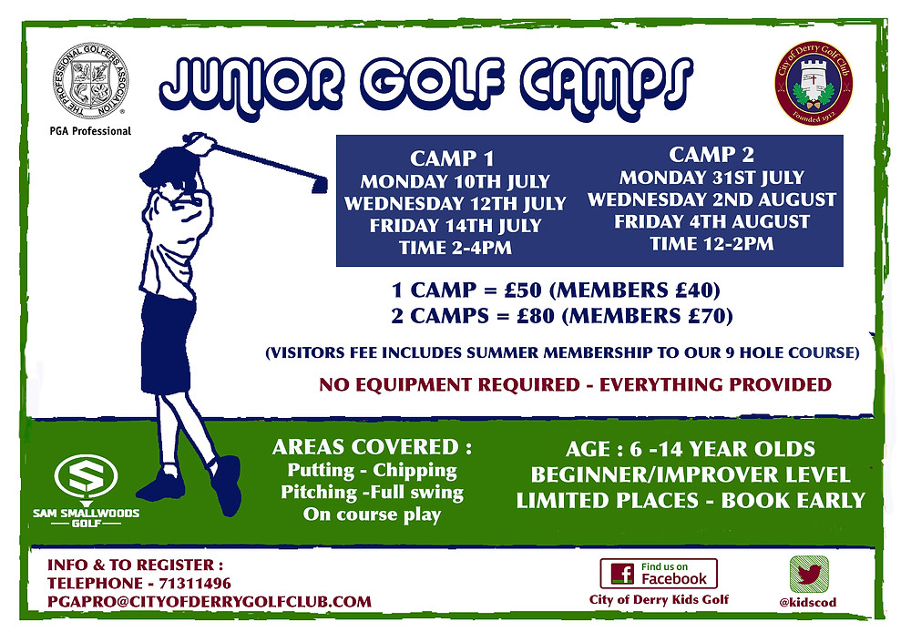 CITY OF DERRY GOLF CLUB SUMMER GOLF CAMPS
