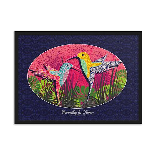Obraz v čiernom ráme pre dvojicu Kolibrík v modrej