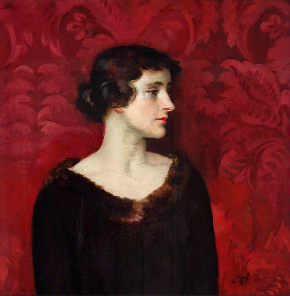 Mrs Gerard Tharp against Red Damask by William Bruce Ellis Ranken ©Bankfield Museum Calderdale