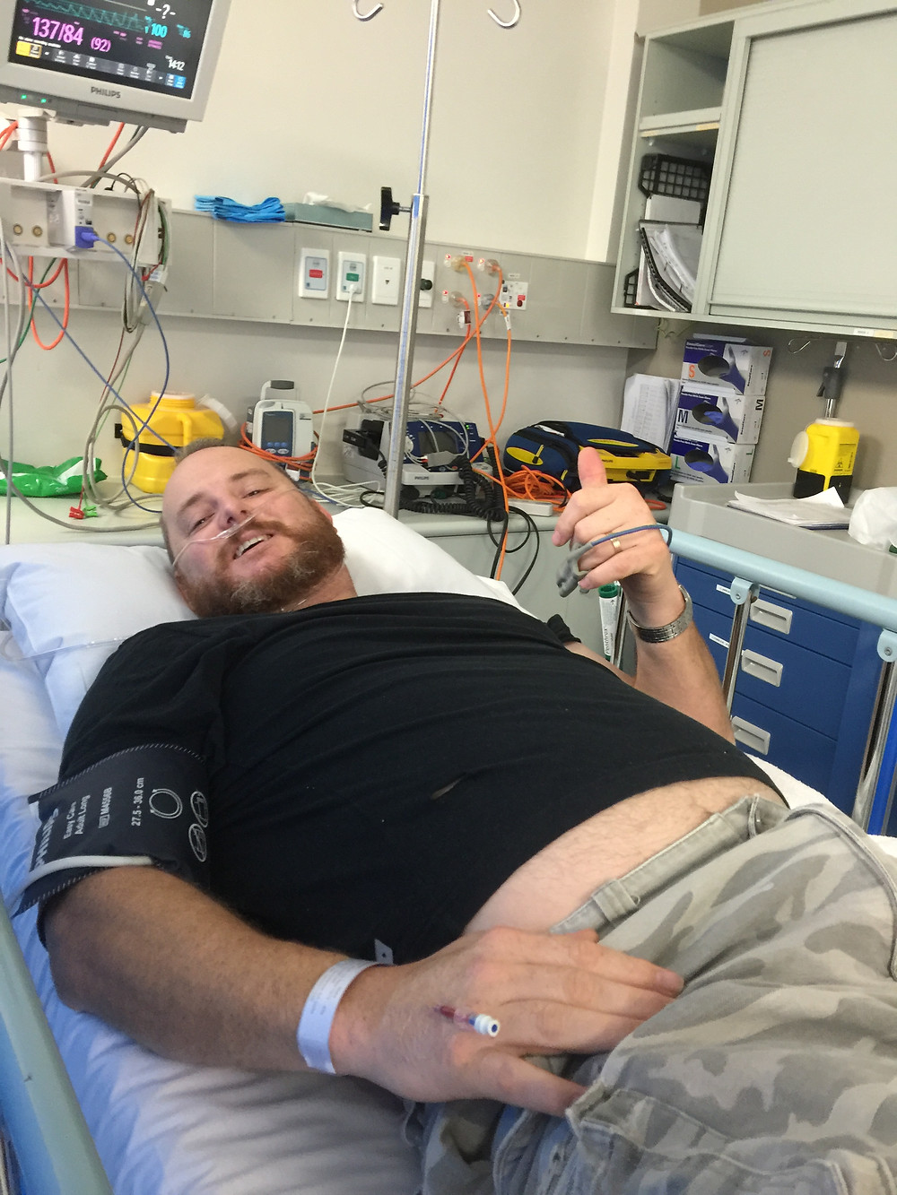 Matt in hospital with another ruptured disc prior to beginning rehabilitation with the Me-Mover