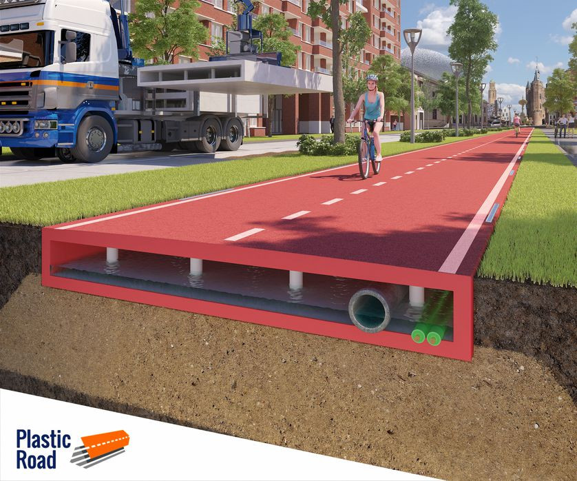 Bike path made from Recycled Plastic