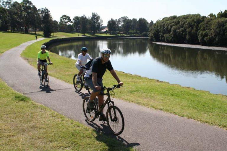 Ride a Me-Mover Stepper Bike along the Bay-to-Bay path on the Cook River Sydney Australia