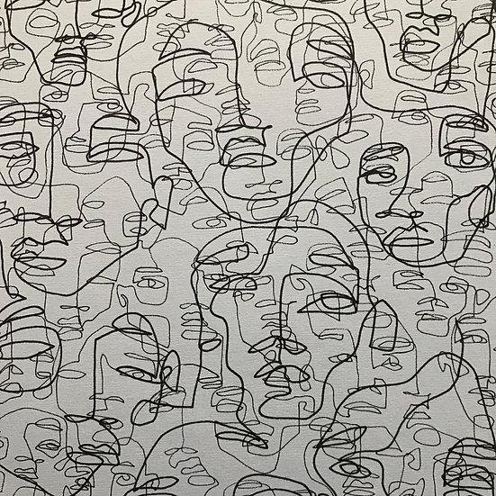 Scribbled faces no. 17