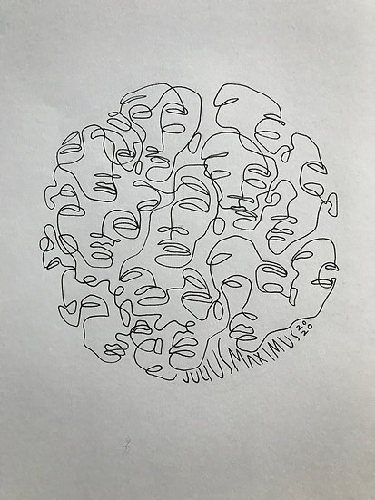 scribbled faces no. 8