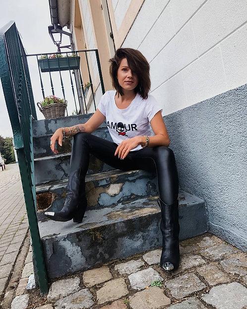 SKINNY COATED PANTS BLACK