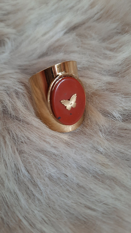 RING BUTTERFLY ROUGE