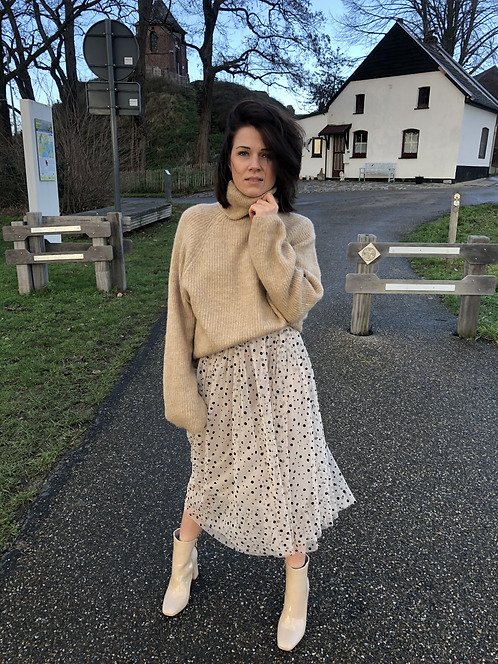 MIDI SKIRT WITH DOTS BEIGE