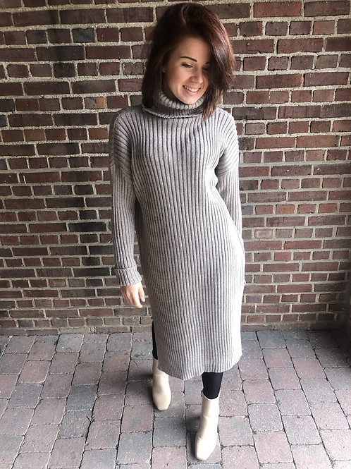 SWEATER DRESS WITH FANTE TAUPE