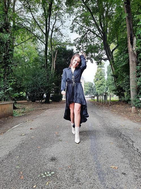 BLACK LONG RUFFLE DRESS