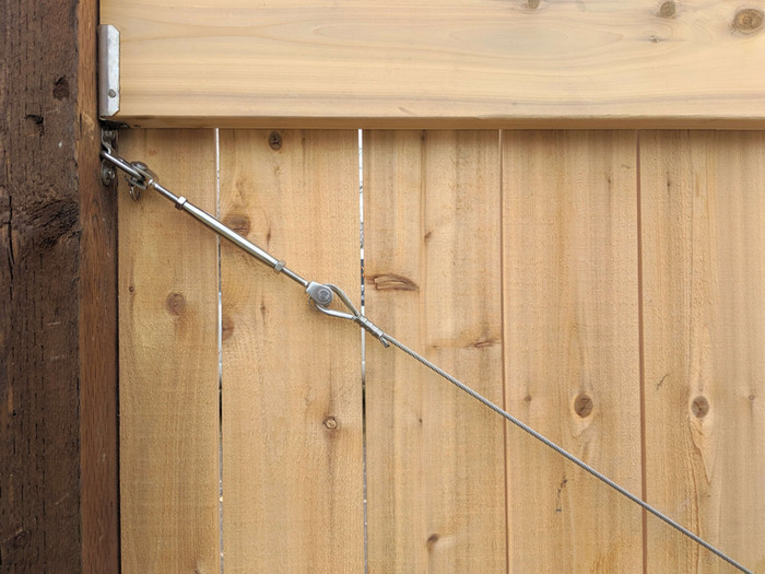 Stainless Steel Cable Tension Brace for Wood RV Gate.