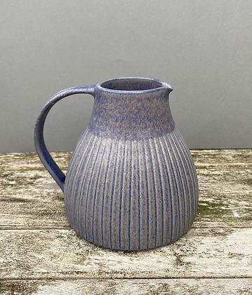 Stoneware jug with lavender blue glaze