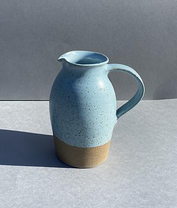 Stoneware jug in duck egg blue