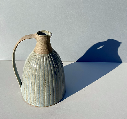 Stoneware jug/wine pitcher with Chun glaze and incised lines