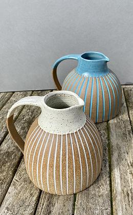 Stoneware Jug with white glaze and inlaid slip lines