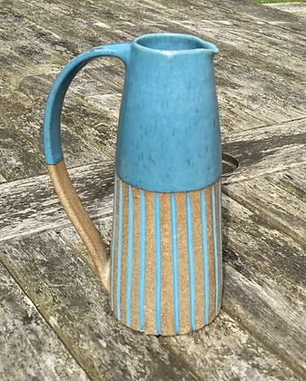 Stoneware jug in Peacock blue
