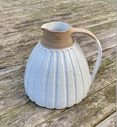 Stoneware jug with white satin glaze