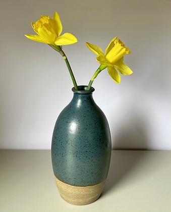 Stoneware bottle vase with a Deep sea blue glaze