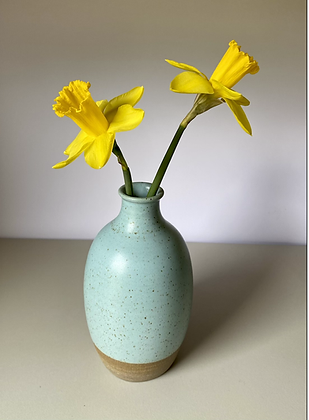 Stoneware bottle vase in Duck egg blue