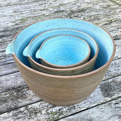 Large set of Stoneware pouring bowls